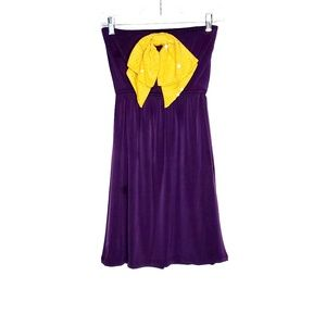 Judith March Strapless Sequin Bow Dress LSU S